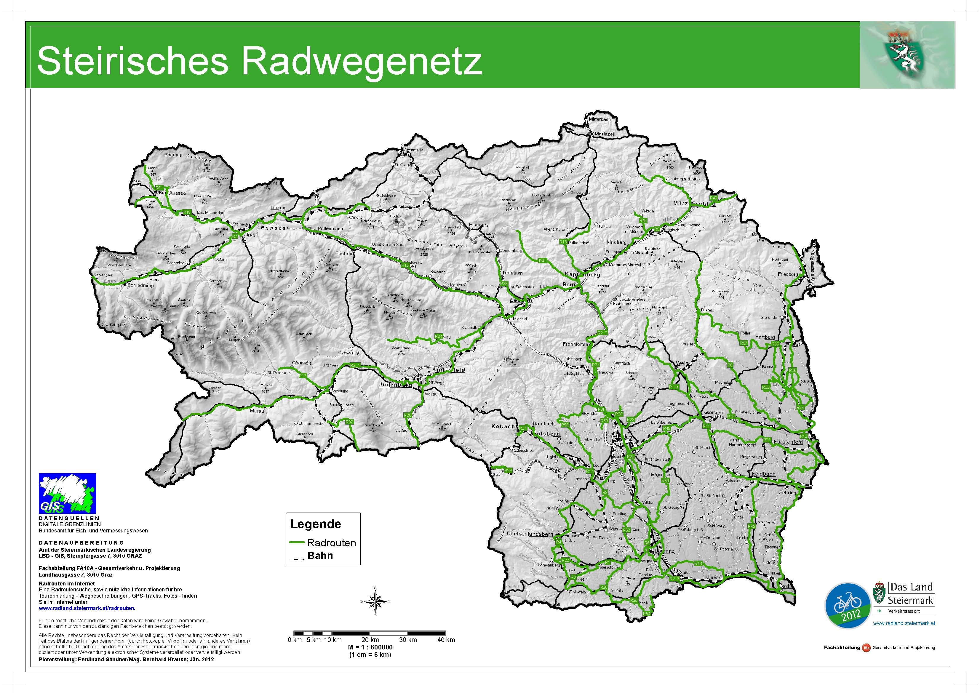 Steiermark Karte Flüsse.Priorität Qualität